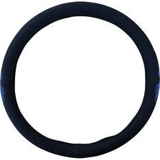 SCA Dragon Steering Wheel Cover - Twill Polyester, Black / Blue, 380mm diameter, , scaau_hi-res