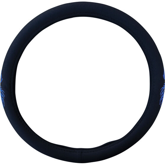SCA Steering Wheel Cover - Dragon Twill Polyester, Black/Blue, 380mm diameter, , scaau_hi-res