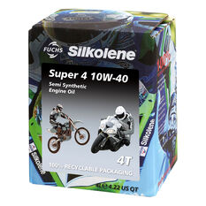 Silkolene Super 4 Motorcycle Oil 10W-40 4 Litre, , scaau_hi-res