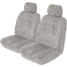 Comfort Fur Seat Covers - Grey, Adjustable Headrests, Size 30, Front Pair, Airbag Compatible, , scaau_hi-res