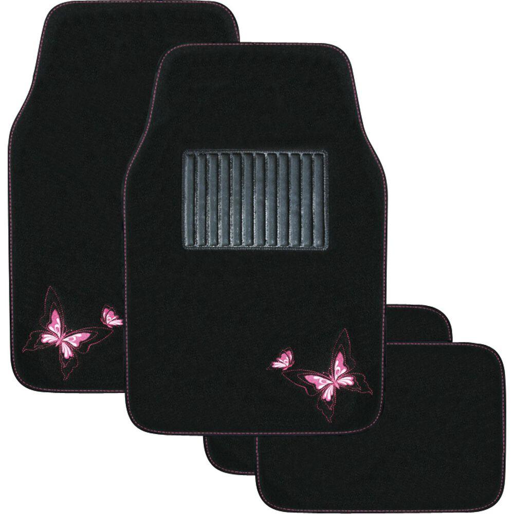 Butterfly Car Floor Mats Carpet Pink Set Of 4