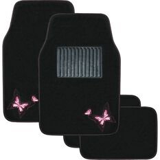 Butterfly Car Floor Mats - Carpet, Pink, Set of 4, , scaau_hi-res