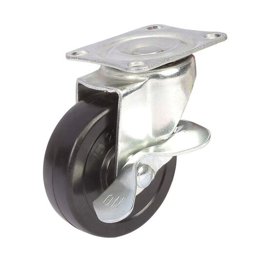SCA Castor Wheel - 75 x 25mm, Metal Brake, Swivel, , scaau_hi-res