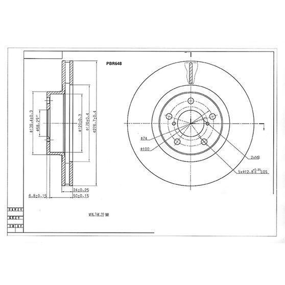 Bosch Disc Brake Rotor - PBR648, , scaau_hi-res