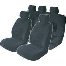 SCA Executive Seat Cover Pack - Black, Adjustable Headrests, Front and Rear, Airbag Compatible, , scaau_hi-res