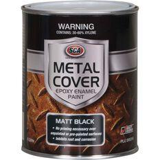 SCA Metal Cover Rust Paint - Enamel, Matt Black, 1 Litre, , scaau_hi-res