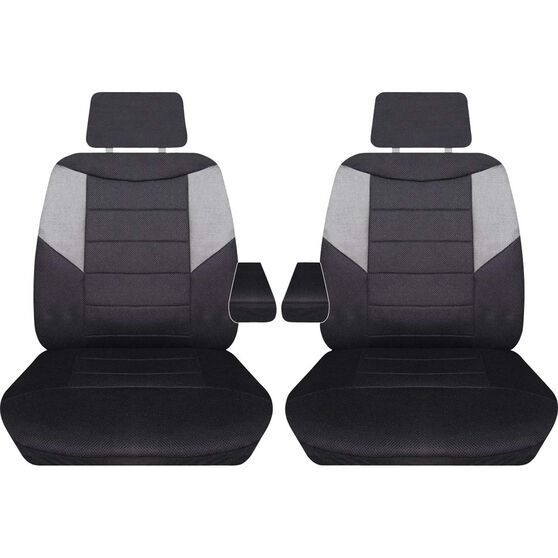 Carbon Mesh Seat Covers - Black and Grey Adjustable Headrests Size 107 Front Pair with Armrests Airbag Compatible, , scaau_hi-res
