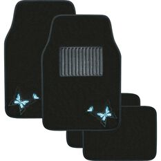 Butterfly Car Floor Mats - Black / Blue, 4 Pack, , scaau_hi-res