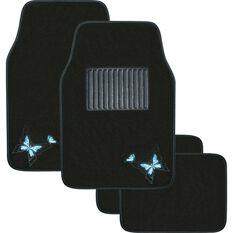 Butterfly Car Floor Mats - Carpet, Blue, Set of 4, , scaau_hi-res