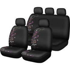 SCA Blossom Seat Cover Pack - Purple and Orange Adjustable Headrests Size 30 and 06H Airbag Compatible, , scaau_hi-res