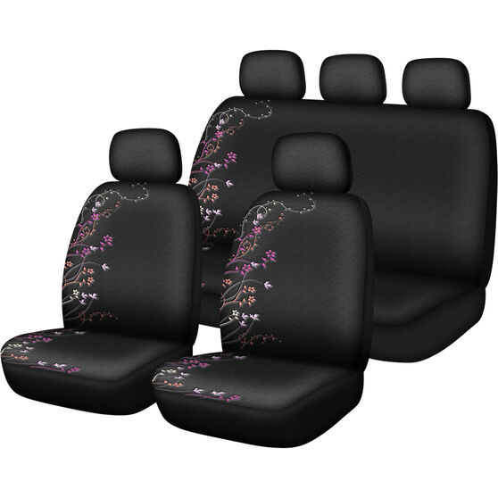 SCA Blossom Seat Cover Pack - Purple and Orange, Adjustable Headrests, Size 30 and 06H, Airbag Compatible, , scaau_hi-res