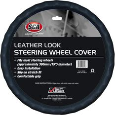 Steering Wheel Cover - Leather Look, Black, 380mm diameter, , scaau_hi-res