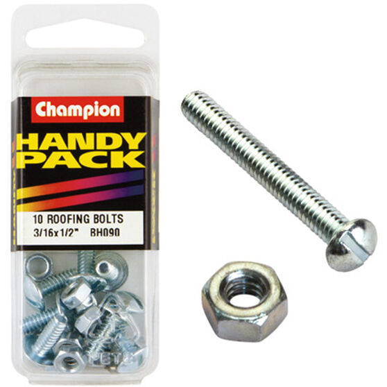 Champion Roofing Bolts - 3 / 16inch X 1 / 2inch, BH090, Handy Pack, , scaau_hi-res