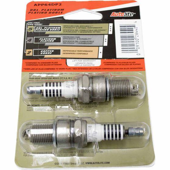 Autolite Double Platinum Spark Plug - APP64DP2, 2 Pack, , scaau_hi-res