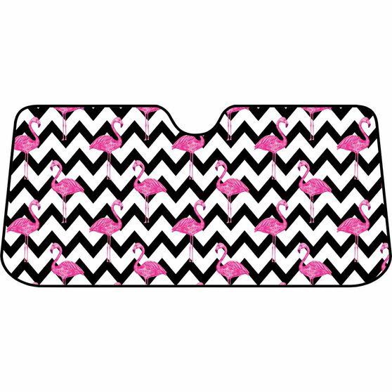 Flamingo Chevron Sunshade - Fashion, Accordion, Front, , scaau_hi-res