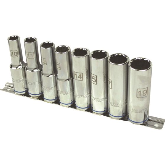 ToolPRO Socket Rail Set - 1 / 2 inch Drive, Metric, Deep, 8 Piece, , scaau_hi-res
