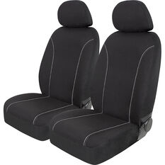 SCA Canvas Seat Covers - Black/Grey Adjustable Headrests Size 30 Front Pair Airbag Compatible, , scaau_hi-res