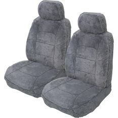 Silver Cloud Sheepskin Seat Covers - Black, Adjustable Headrests, Size 30, Front Pair, Airbag Compatible, Grey, scaau_hi-res