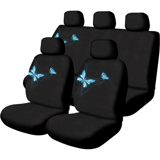 Butterfly Seat Cover Pack - Blue, Adjustable Headrests, Size 30 and 06H, Front and Rear, Airbag Compatible, , scaau_hi-res