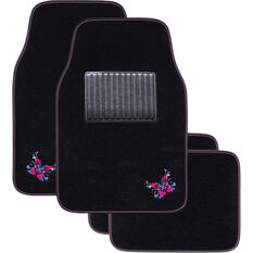 SCA Butterfly Floor Mats Carpet Black/Pink/Blue Set of 4, , scaau_hi-res