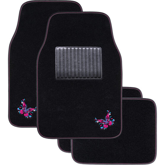 Butterfly Floor Mats - Carpet, Black / Pink / Blue, Set of 4, , scaau_hi-res