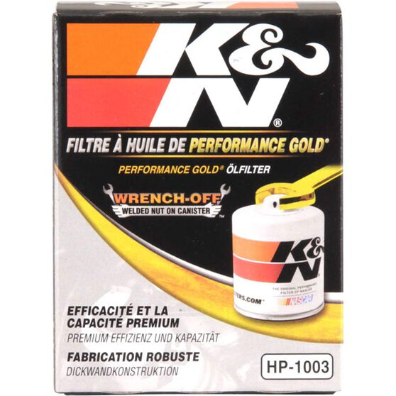 K&N Wrench Off Performance Gold Oil Filter  - HP-1003 (Interchangeable with Z386), , scaau_hi-res
