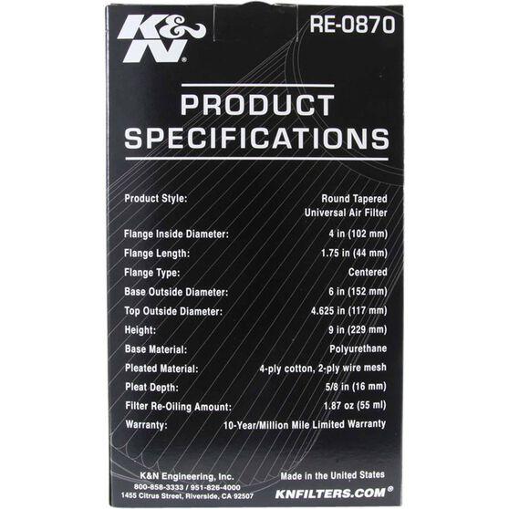 K&N Pod Air Filter - 4 inch, KN RE-0870, , scaau_hi-res