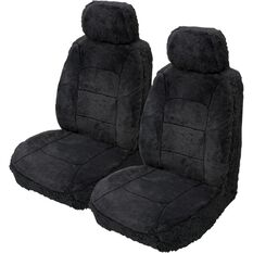 Silver Cloud Sheepskin Seat Covers - Black, Adjustable Headrests, Size 30, Front Pair, Airbag Compatible Black, Black, scaau_hi-res