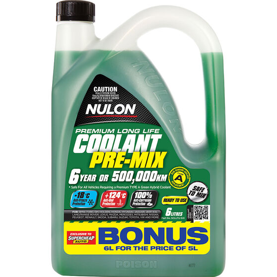 Nulon Anti-Freeze / Anti-Boil  Green Premix Coolant - 6 Litre, , scaau_hi-res