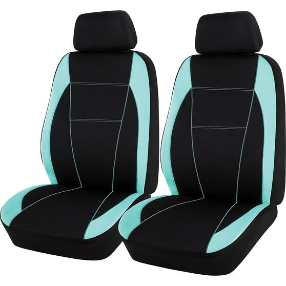 SCA Neoprene Seat Covers - Black and Mint, Adjustable Headrests, Airbag Compatible, , scaau_hi-res