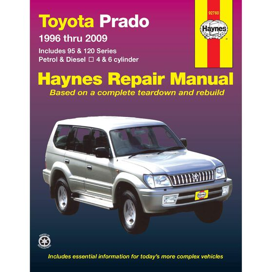 Haynes Car Manual For Toyota Prado 1996-2009 - 92760, , scaau_hi-res