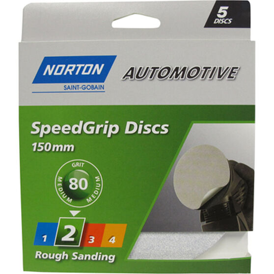 Norton S / Grip Disc - 80 Grit, 150mm, 5 Pack, , scaau_hi-res