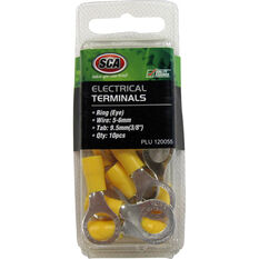 SCA Electrical Terminals - Ring (Eye), Yellow, 9.5mm, 10 Pack, , scaau_hi-res