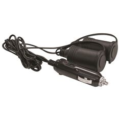 12V Extension Socket - Twin, With Plug, 1m Lead, , scaau_hi-res