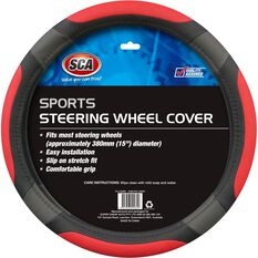 Steering Wheel Cover - Sports, Red, 380mm diameter, , scaau_hi-res
