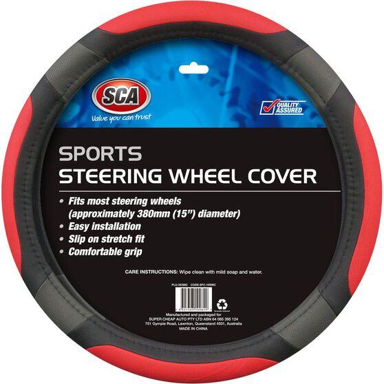 SCA Steering Wheel Cover - Sports, Red, 380mm diameter, , scaau_hi-res