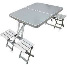 Outdoor Camping Table & Chairs - Aluminium, Folding, Portable, , scaau_hi-res