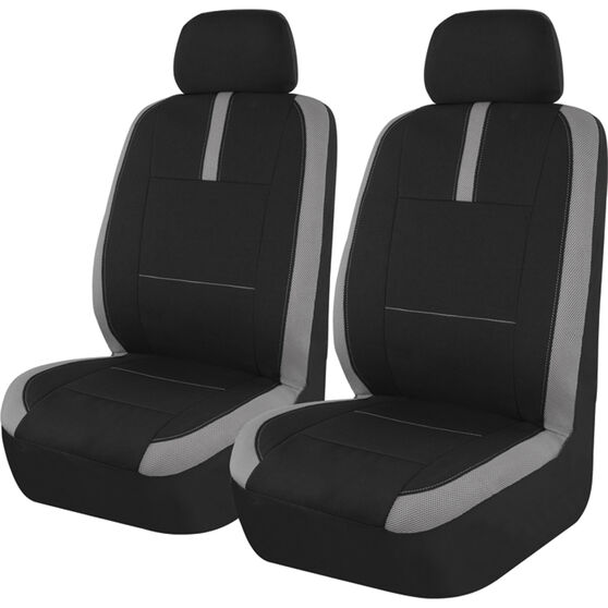SCA Mesh Seat Covers - Black and Grey, Adjustable Headrests, Size 30, Front Pair, Airbag Compatible, , scaau_hi-res