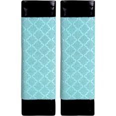 Metallic Print Seat Belt Buddies - Mint Green and Black, Pair, , scaau_hi-res