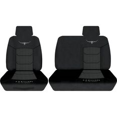 R.M.Williams Woven Ute Seat Cover - Black, Size 301, Front Bucket and Bench (w/out cut out), , scaau_hi-res