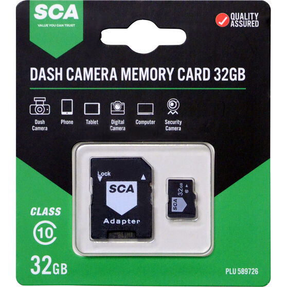 SCA 32GB Dash Cam Memory Card Class 10 with Adaptor, , scaau_hi-res