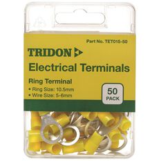 Tridon Electrical Terminals - Ring (Eye), Yellow, 10.5mm, 50 Pack, , scaau_hi-res