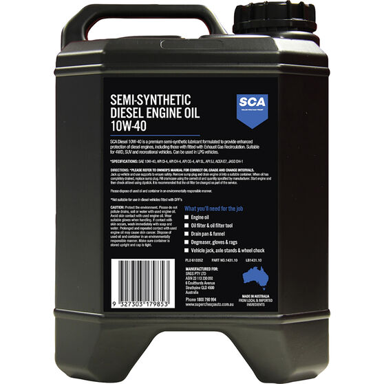 SCA Semi-Synthetic Diesel Engine Oil 10W-40 10 Litre, , scaau_hi-res