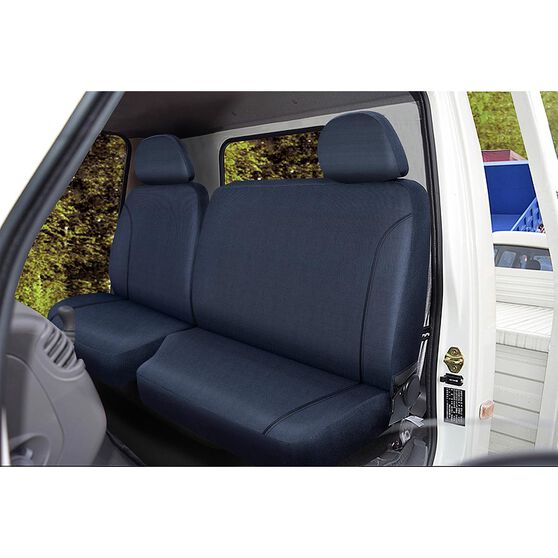 SCA Canvas Ute Seat Covers - Charcoal/Grey, Size 401, Front Bucket and Bench (with cut out), , scaau_hi-res