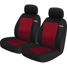 Cord Seat Covers - Red, Adjustable Headrests, Size 30, Front Pair, Airbag Compatible, , scaau_hi-res