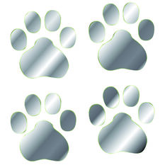 Hot Stuff Sticker - Paw Prints, Chrome, , scaau_hi-res