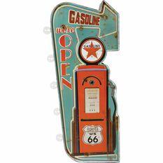 Tin Sign Illuminated Gasoline, , scaau_hi-res