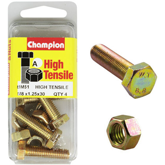 Champion High Tensile Bolts and Nuts - M8 X 30, , scaau_hi-res