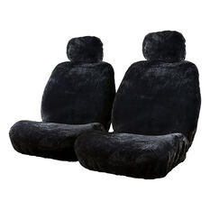 Silver Cloud Sheepskin Seat Covers - Black Adjustable Headrests Size 30 Front Pair Airbag Compatible Black, Black, scaau_hi-res