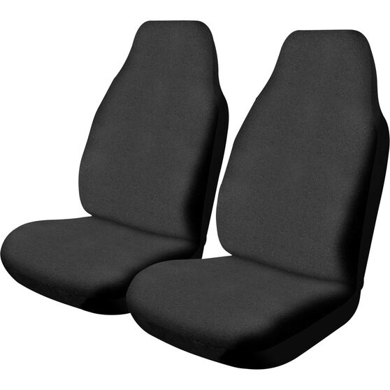 SCA Canvas Seat Covers - Black, Built-in Headrests, Size 60, Front Pair, Airbag Compatible, , scaau_hi-res